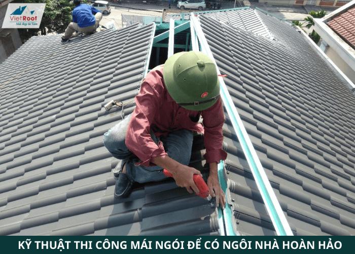 dịch vụ thi công mái ngói khung kèo thép nhẹ VietRoof
