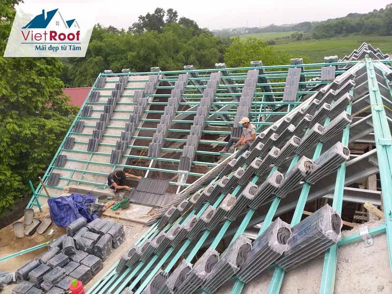 Thi công mái ngói khung kèo thép chống gỉ tại Lạng Sơn